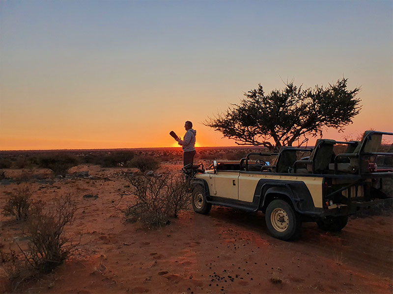 Sunset on our Kalahari Safari
